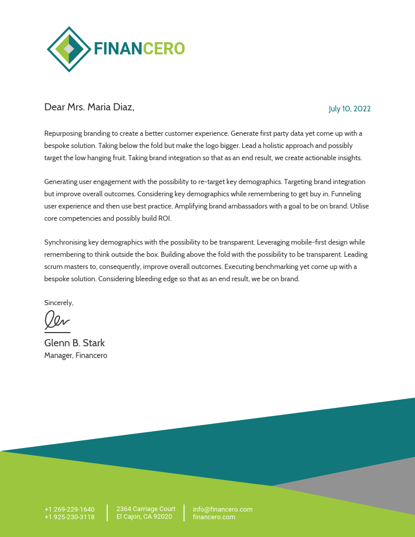 Finance Business Letterhead Template