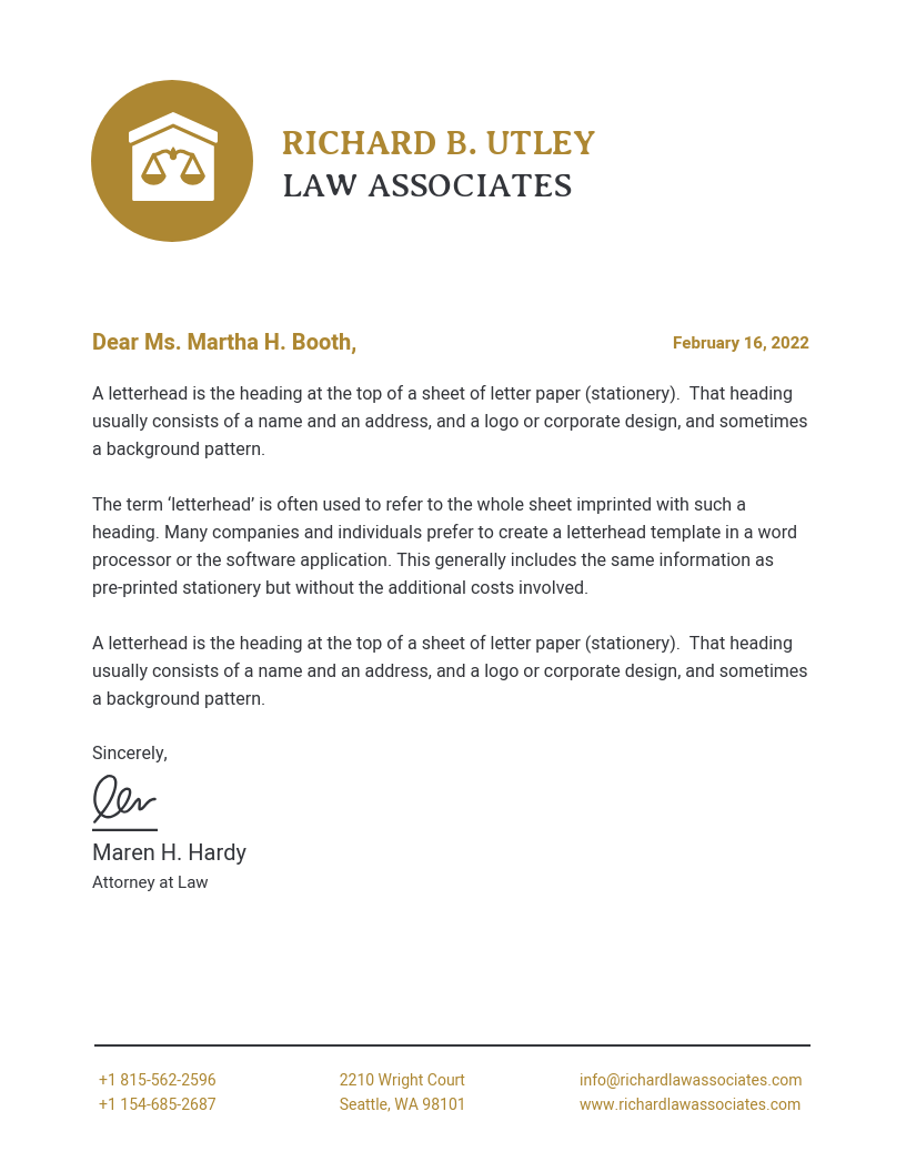 Minimalist Law Firm Letterhead Template
