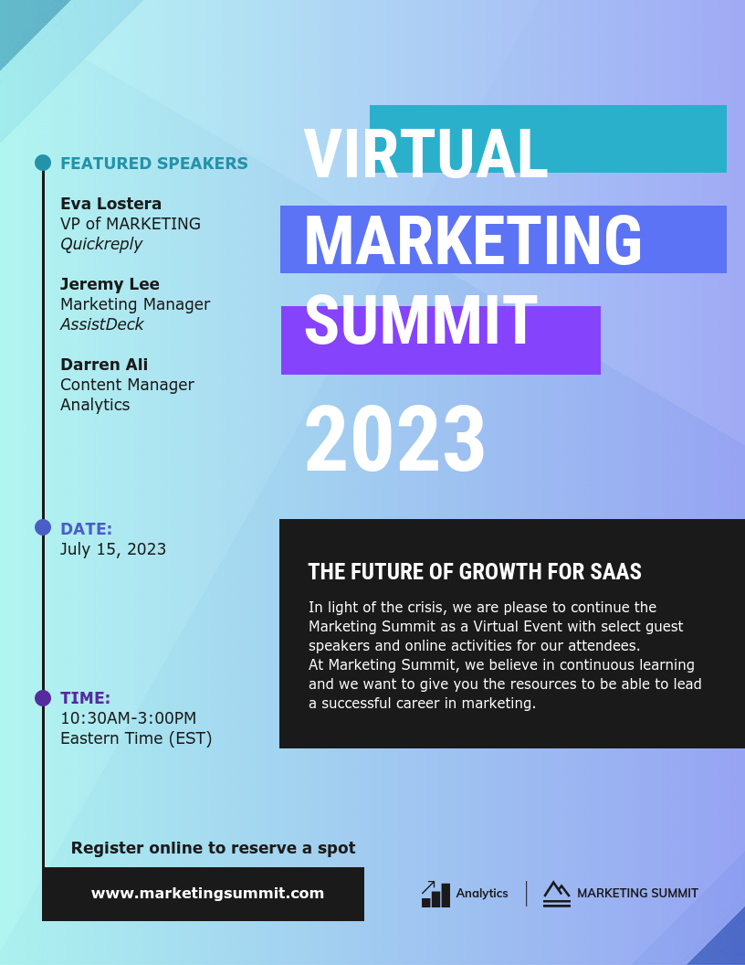 What is a webinar virtual marketing summit flyer