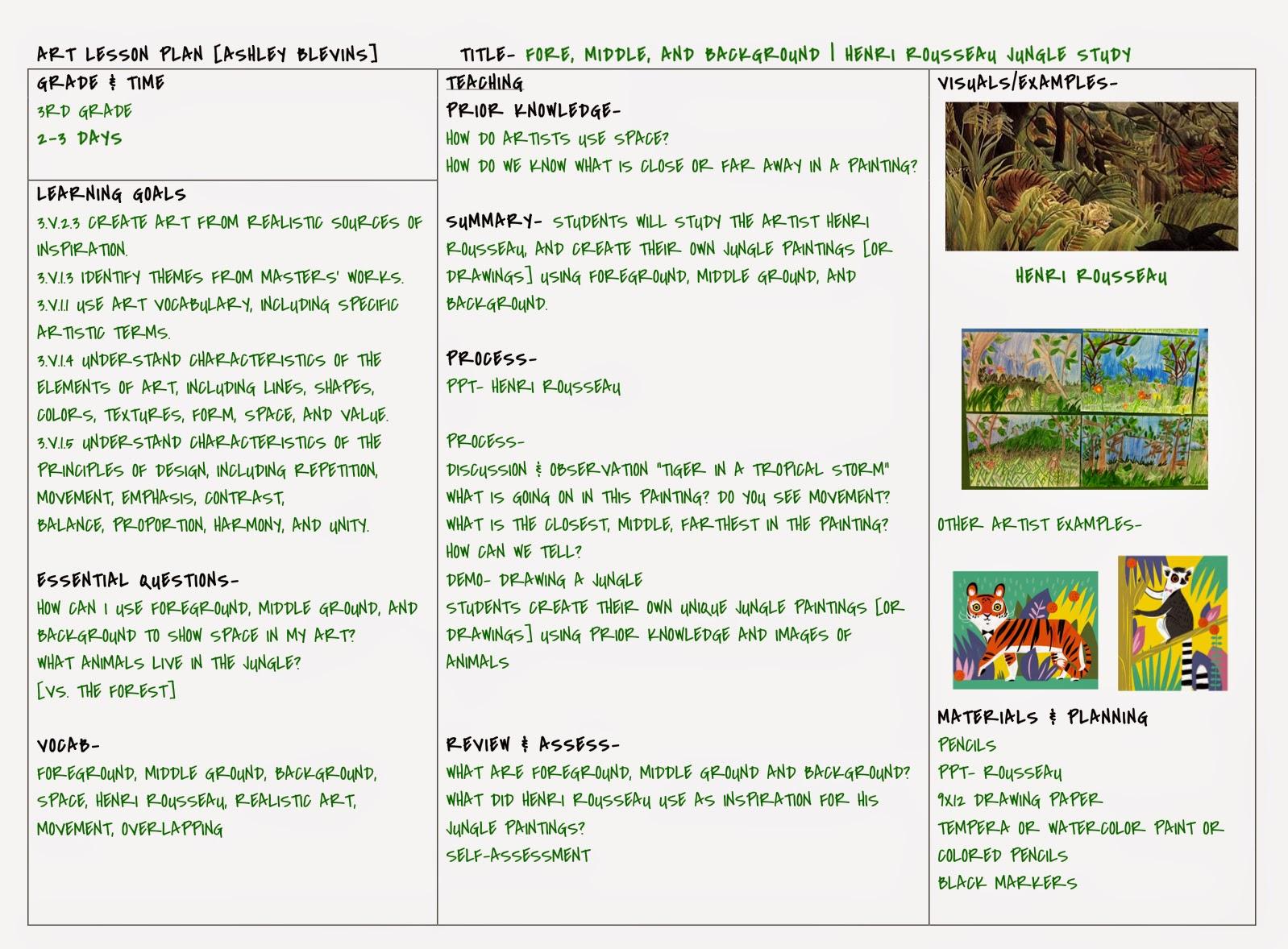 ART LESSON PLAN 3rd grade rousseau jungle