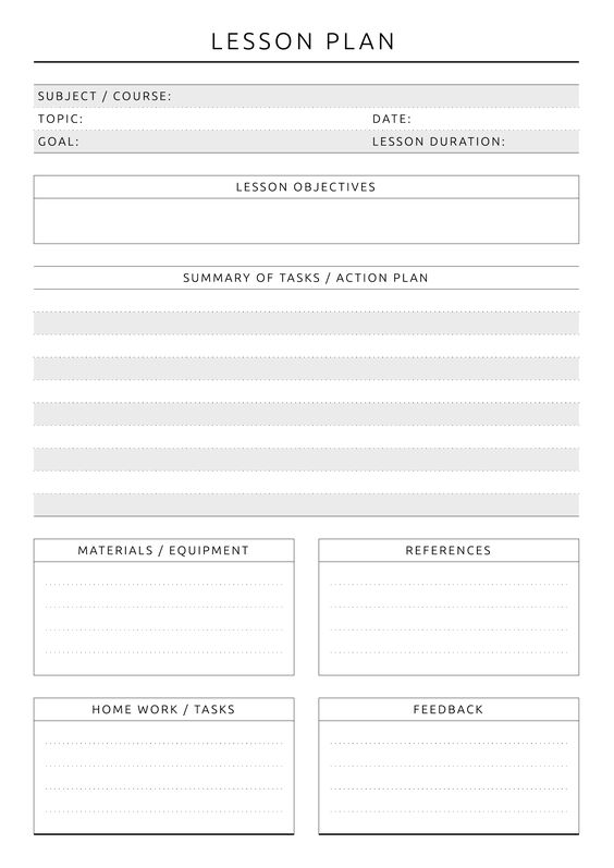 Action plan lesson plan example