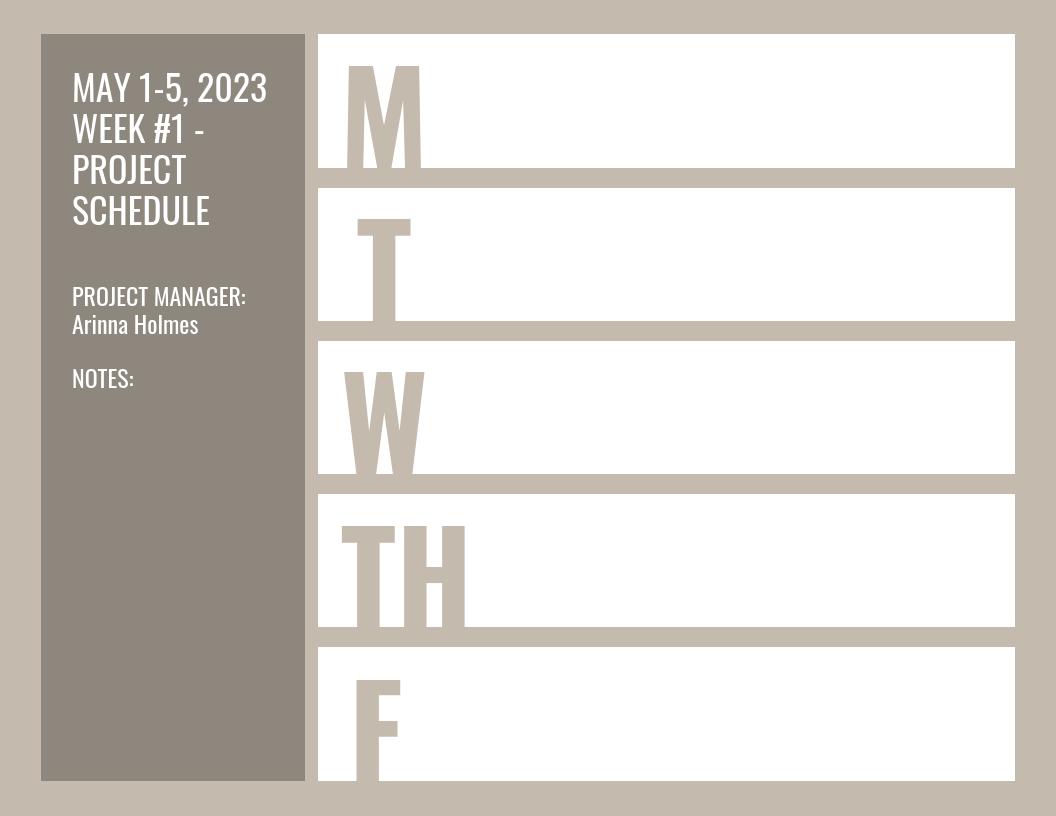 Beige Weekly Calendar Schedule Template