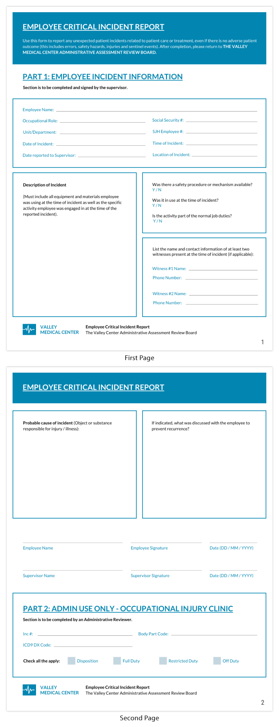 Blue Healthcare Employee Critical Incident Report Template
