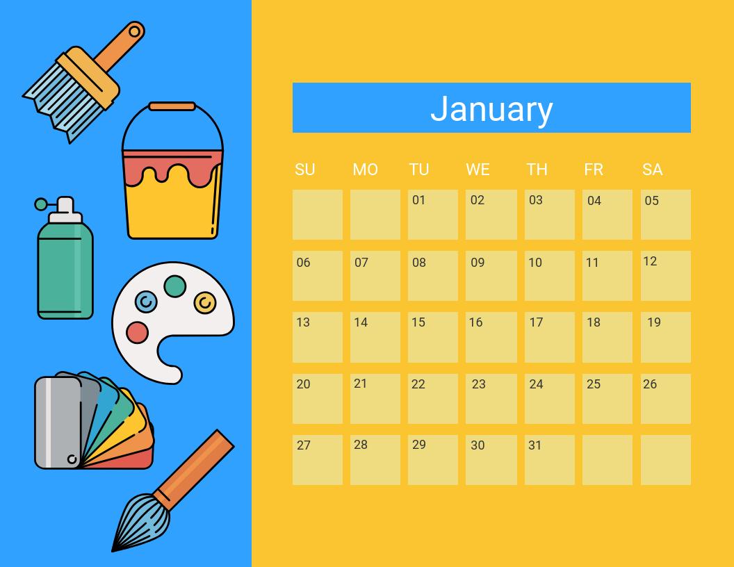 Blue Yellow Classroom Calendar Template