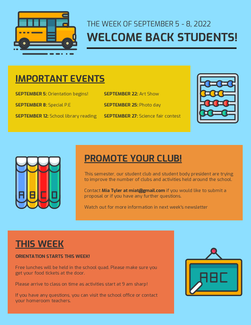 Colorful Back to School Newsletter Template