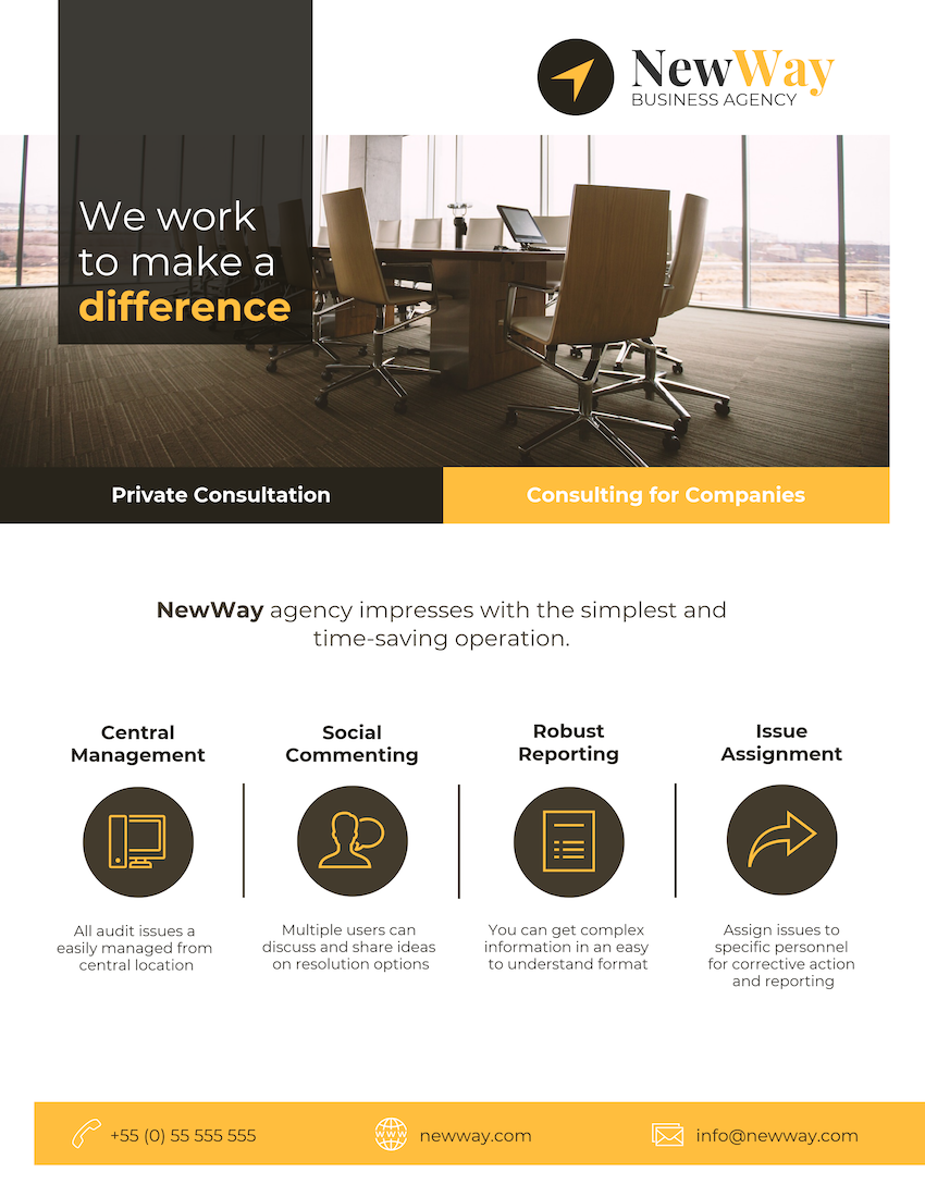 Consulting Agency Flyer Template for Website Marketing