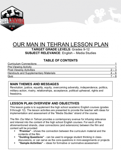 English lesson plan example our man in tehran