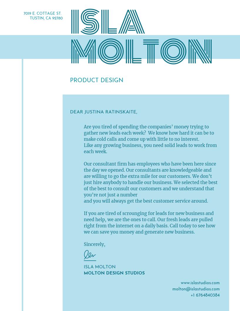 Light Blue Designer Letterhead Template