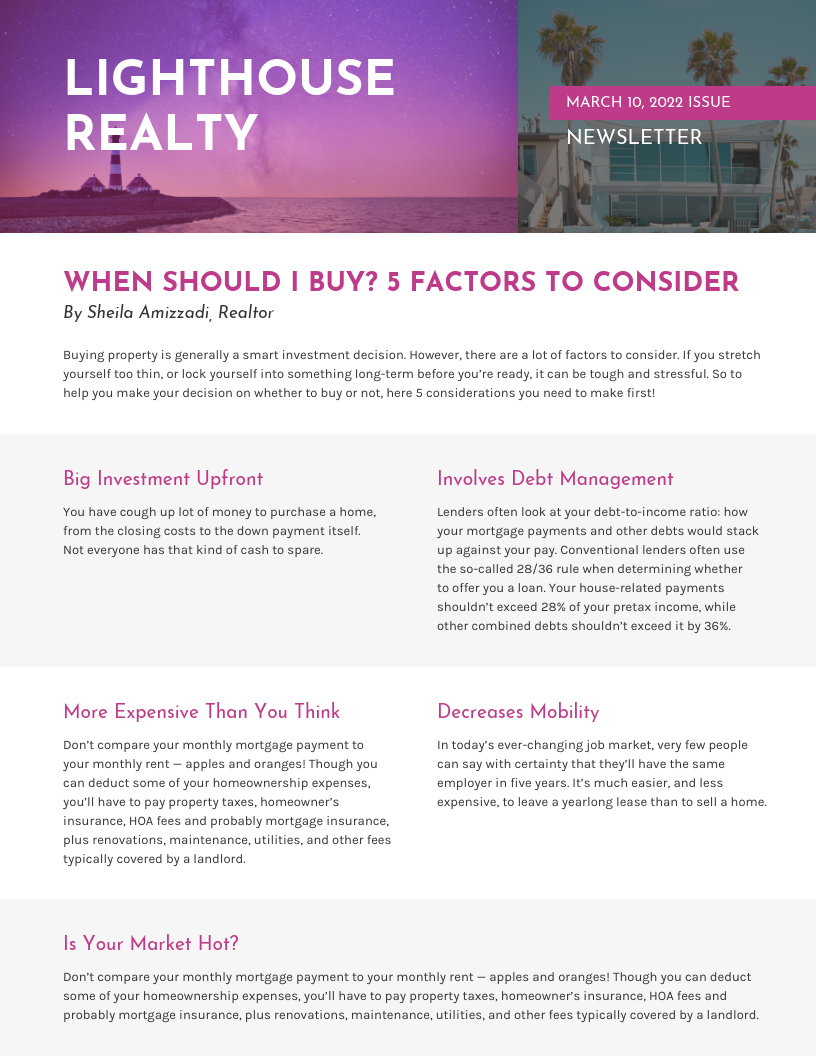 Light Purple Real Estate Newsletter Template
