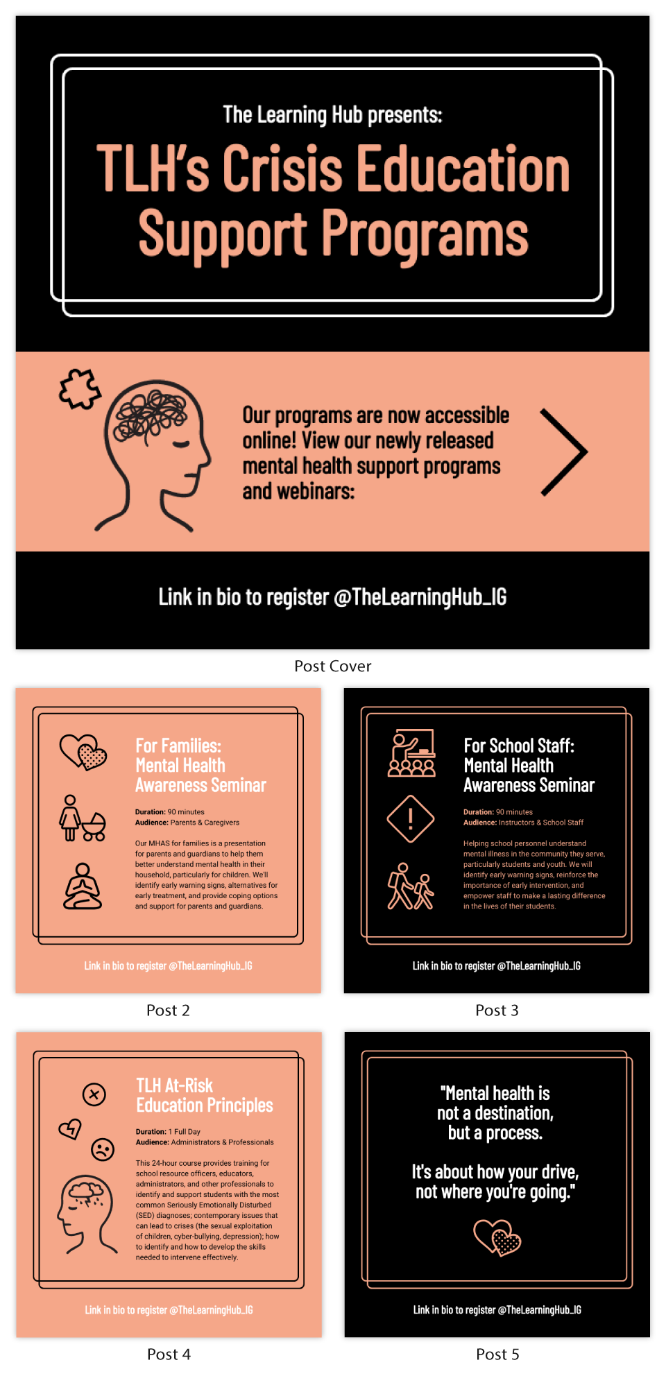 Mental Health Crisis Instagram carousel template
