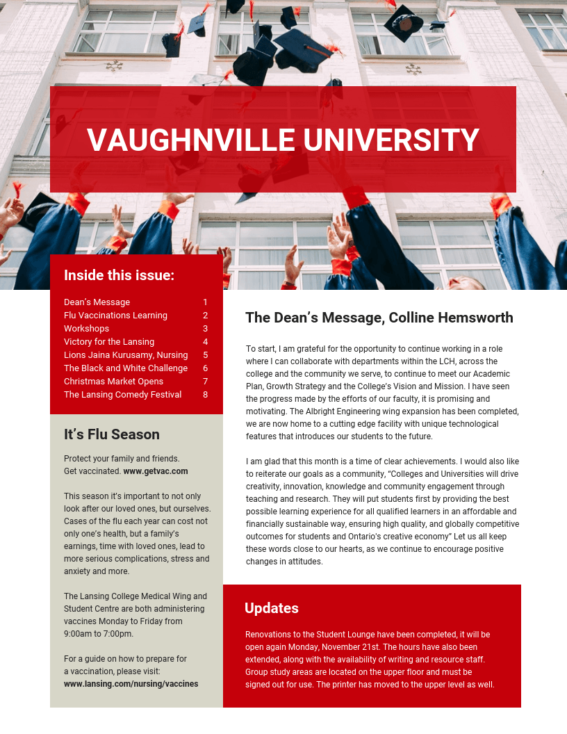 Modern Red University Newsletter Template