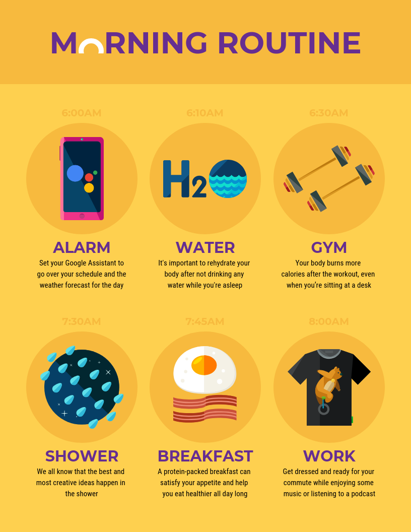 Morning Routine icon infographic accessible design