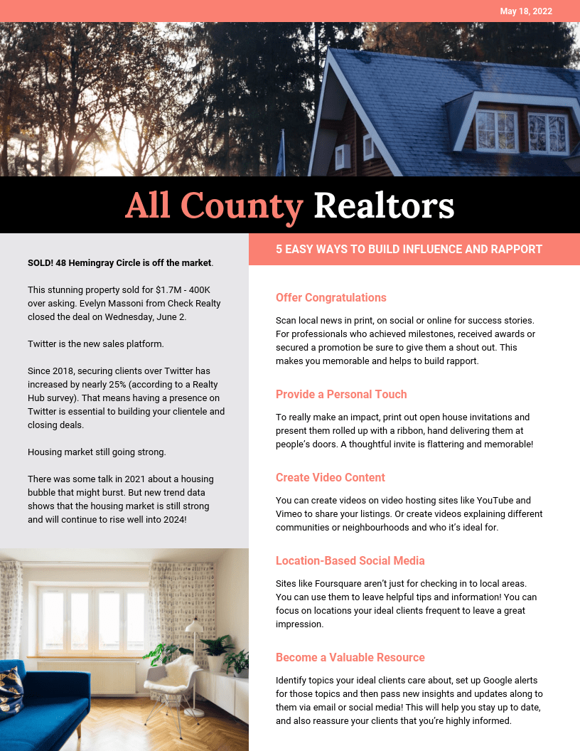 Peach Real Estate Newsletter Template