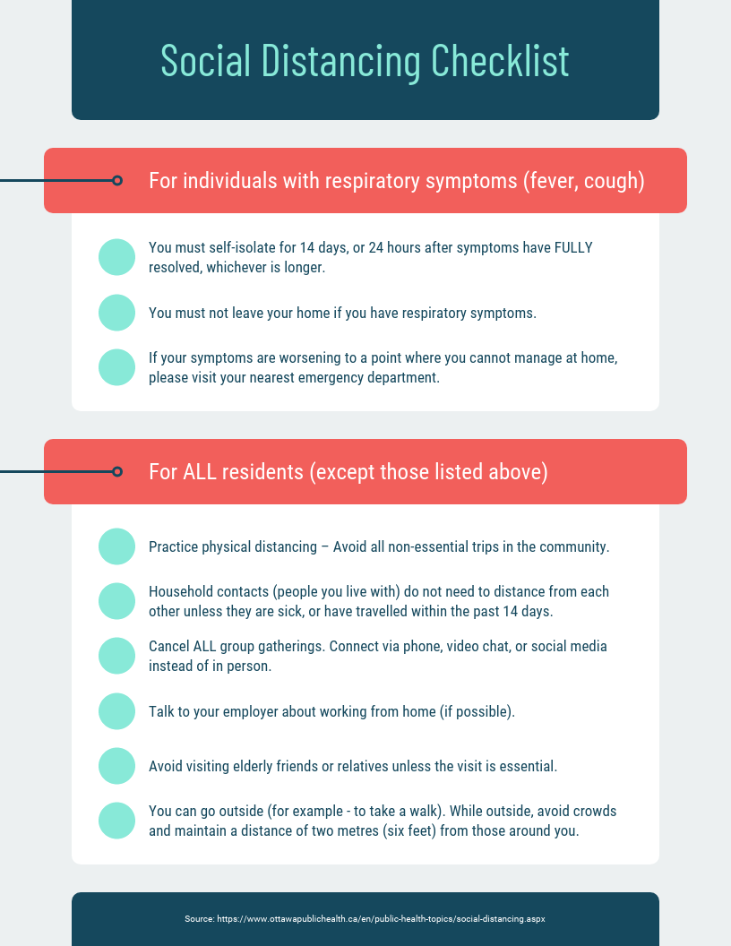 Self Quarantine Checklist Infographic Idea 1