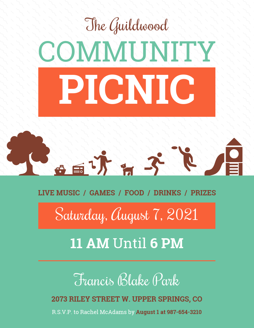 Simple Community Picnic Event Poster Template