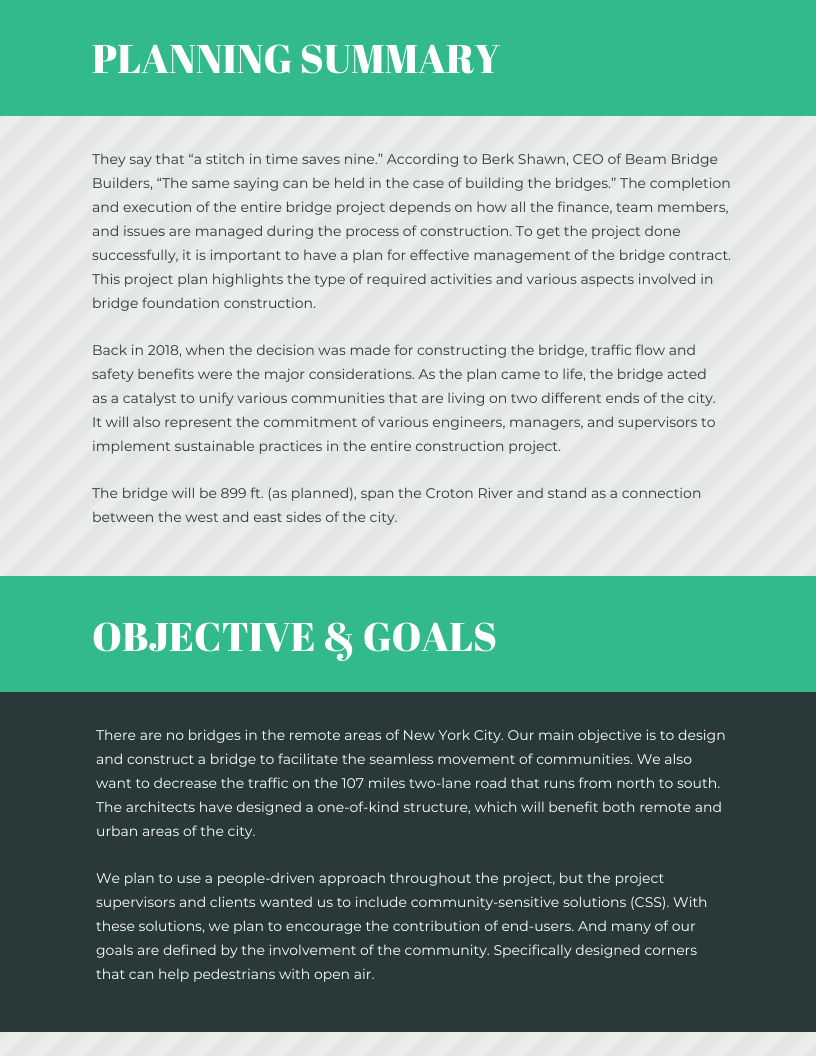 Green Stripes Project Management Plan Template