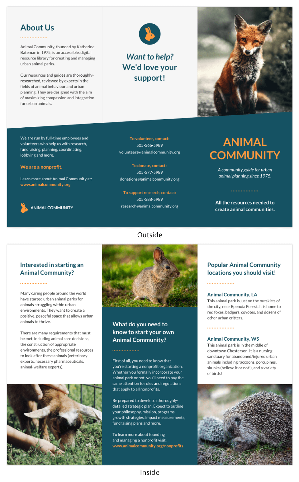 Animal Community Nonprofit Brochure Template