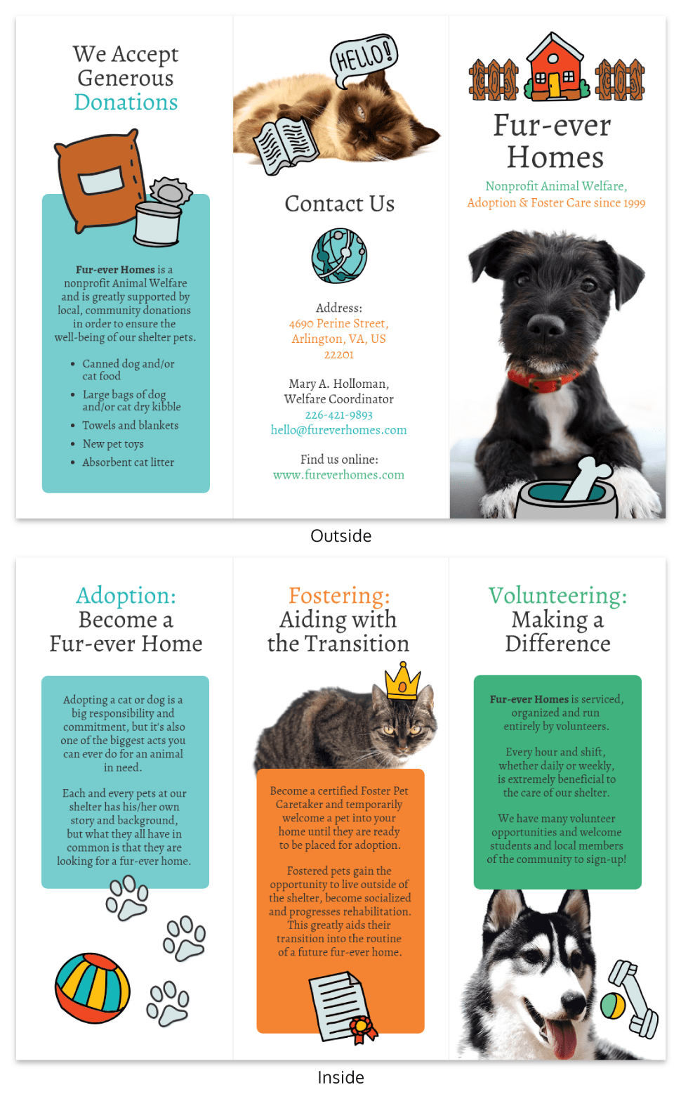 Animal Rescue Nonprofit Tri Fold Brochure Template