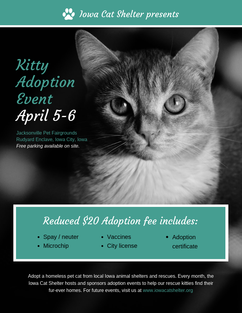 Cat Adoption Nonprofit Event Poster Template