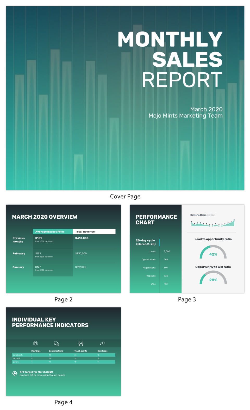 Gradient Monthly Sales Report Template