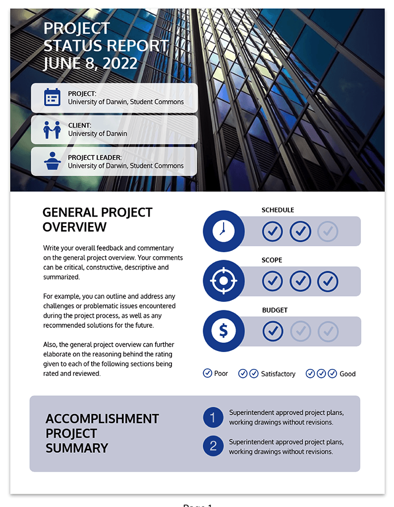 Simple Project Status Report Template