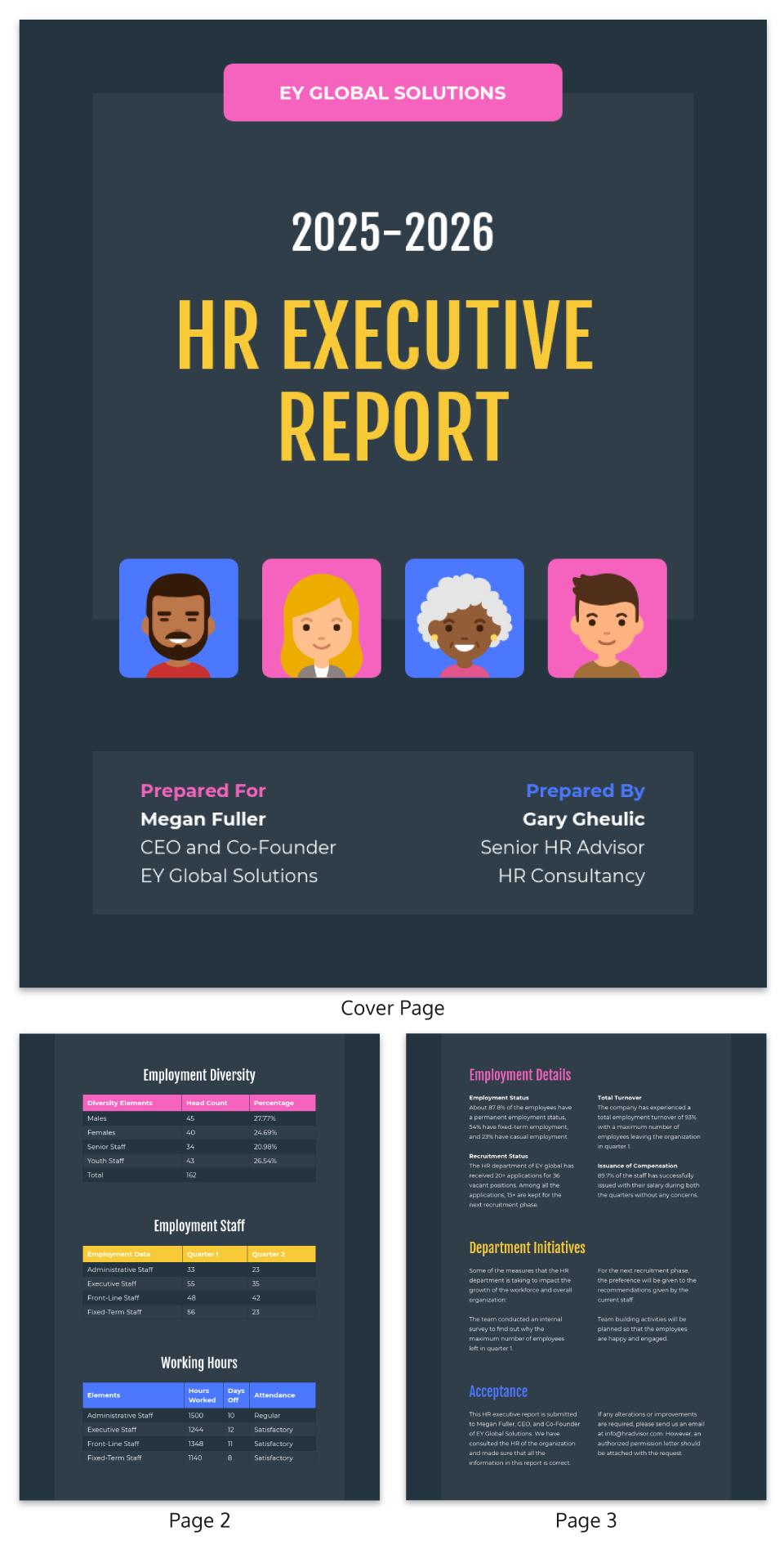 Executive HR report Template