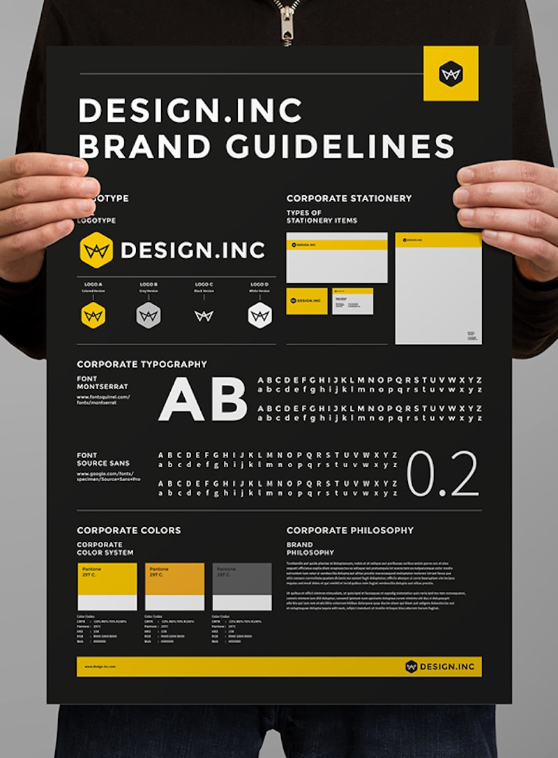 Black One Page Brand Guidelines Poster