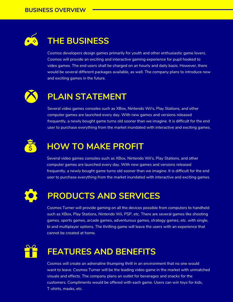 Executive Summary Blue Business Plan Template