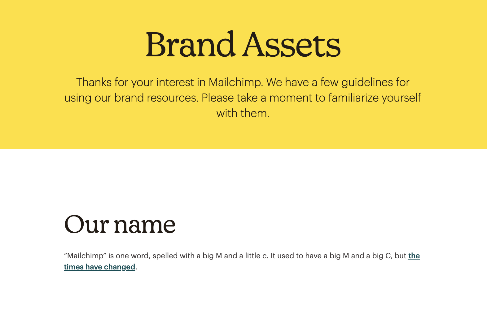 Mailchimp Name Usage Brand Guidelines Example