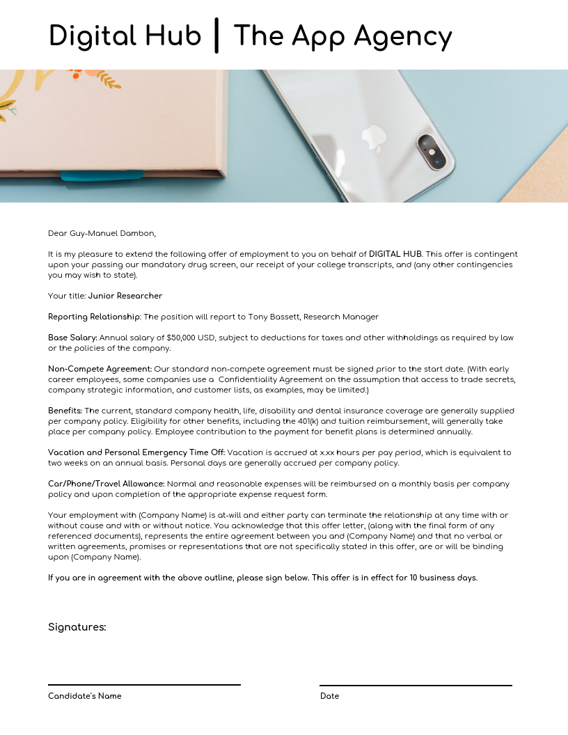 Minimalist Design Employee Offer Business Letter Template