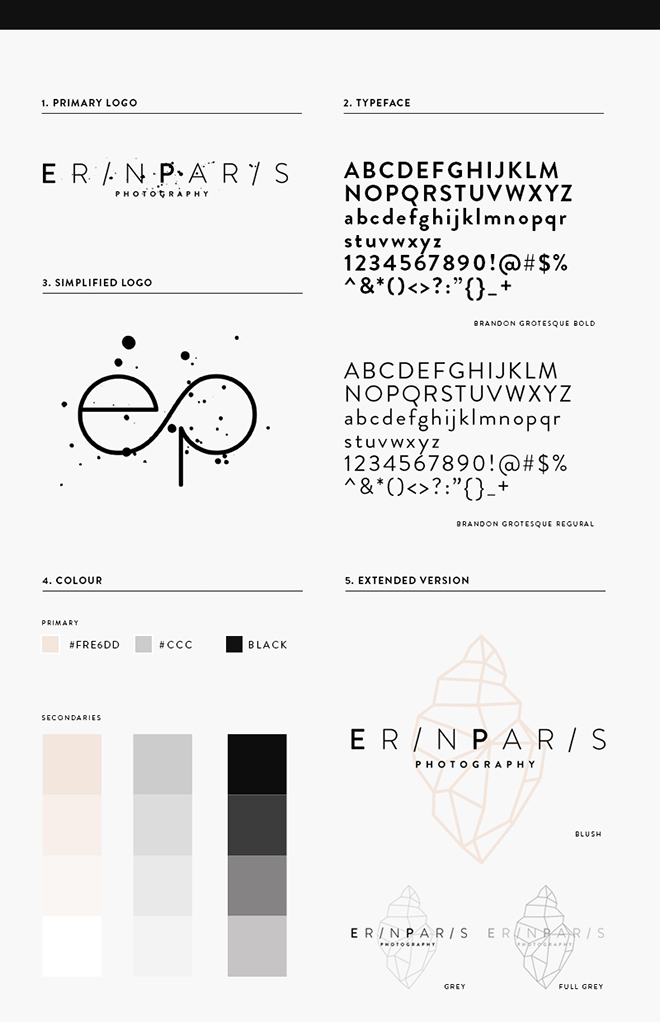 One Page Photography Brand Guidelines Example
