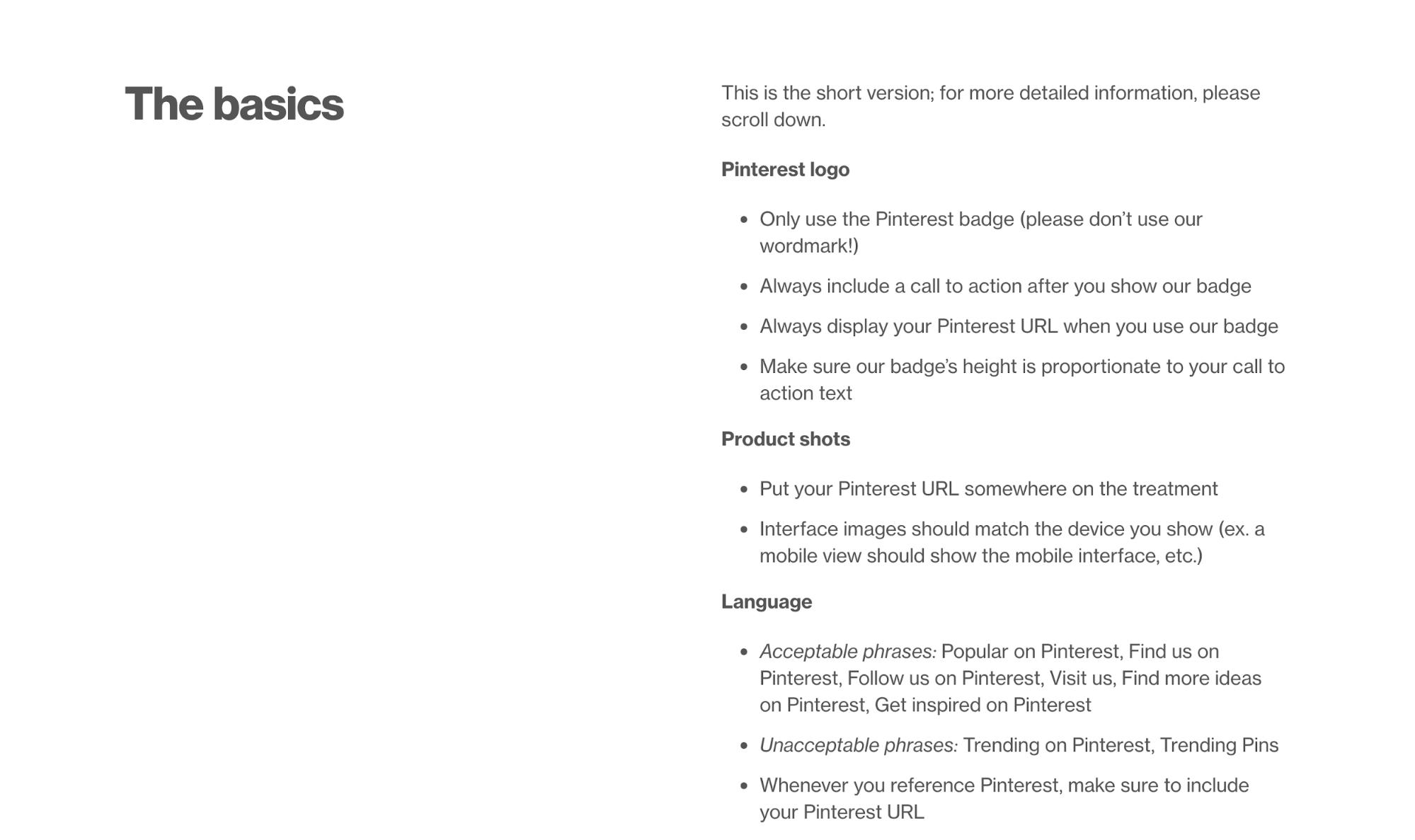 Pinterest Brand Guidelines Example