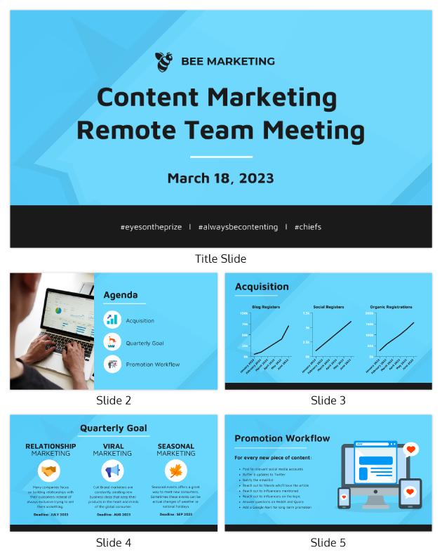 Remote content marketing presentation template