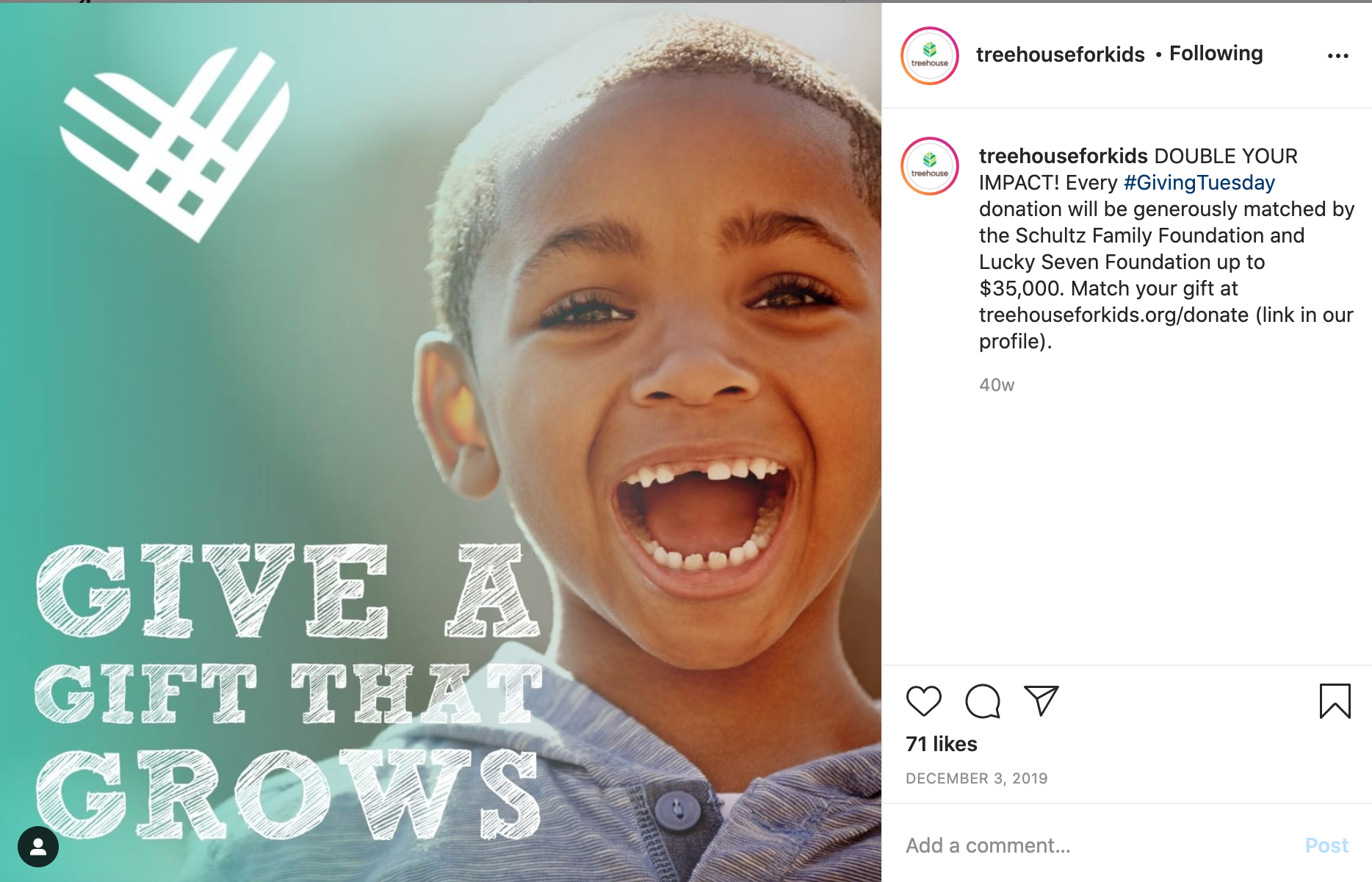 Treehouse Giving Tuesday Campaign Example