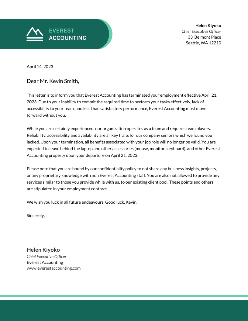 Business Accounting Termination Business Letter Template