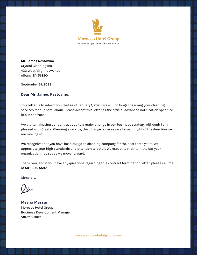 Business Contract Termination Business Letter Template