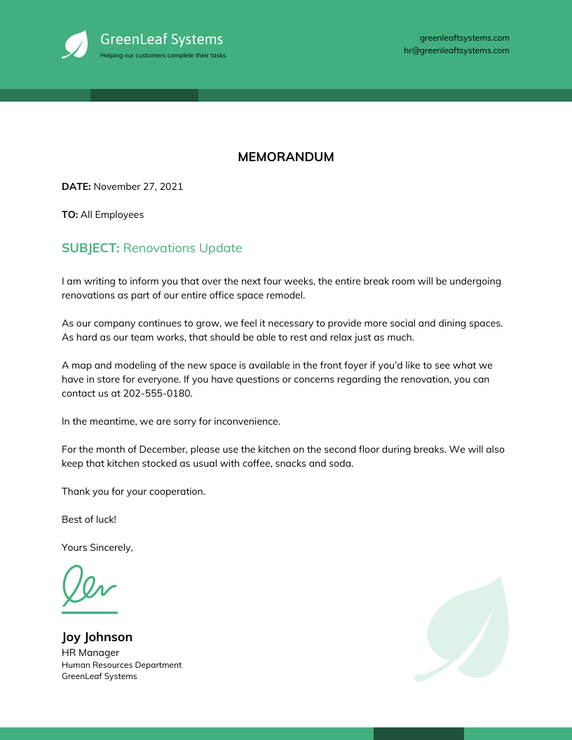 Business Corporate Memo Business Letter Template