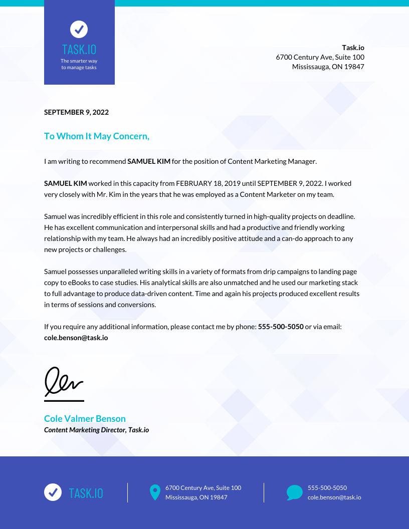 Business Employee Recommendation Letter Template