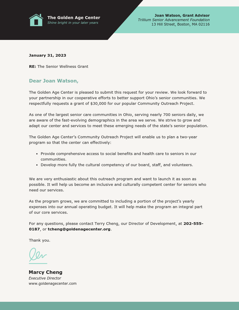 Grant Proposal Business Letter Template