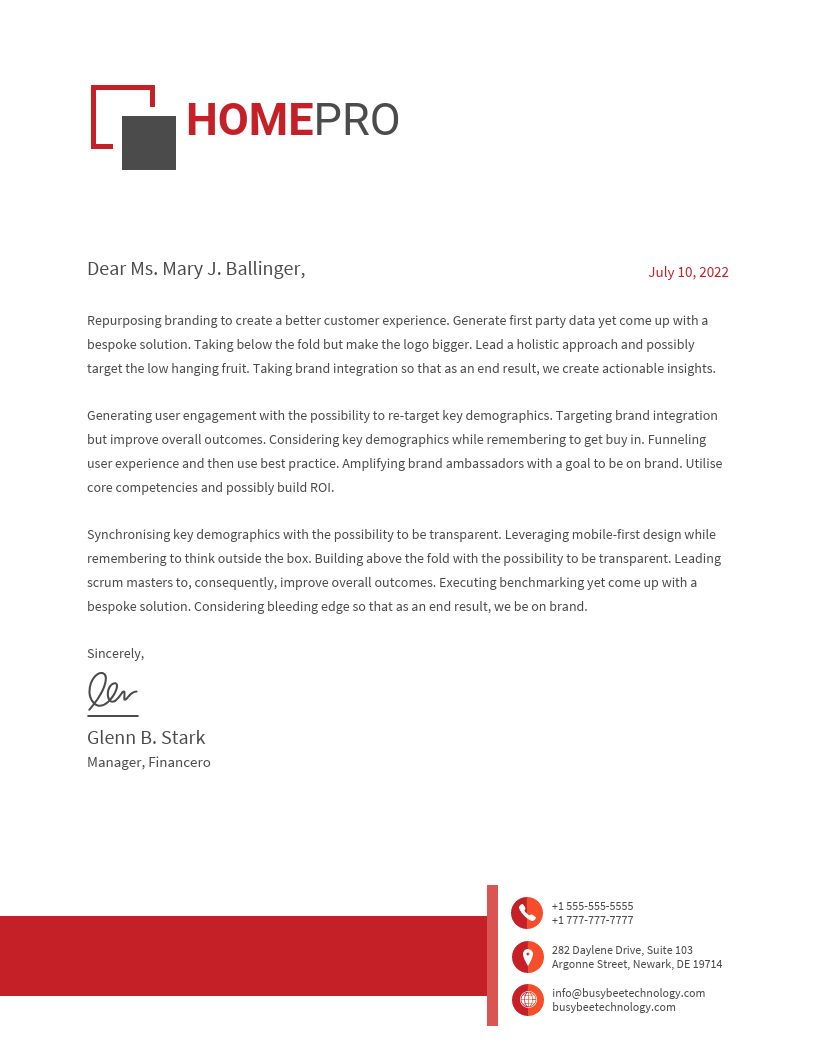 Housing Business Business Letter Template