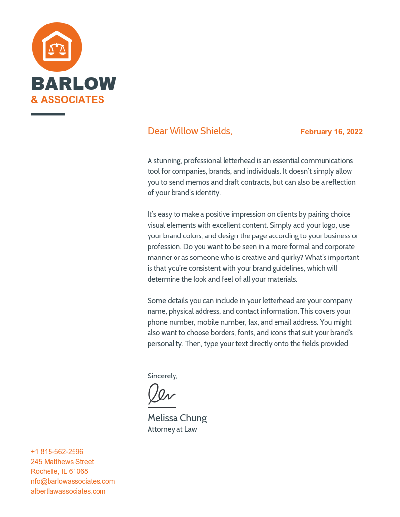 Orange Law Firm Official Business Letter Template