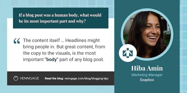 Hiba Amin blogging tips quote