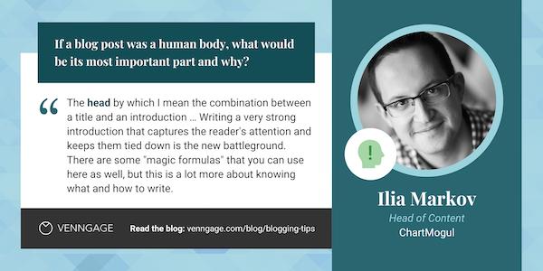 Ilia Markov blogging tips quote