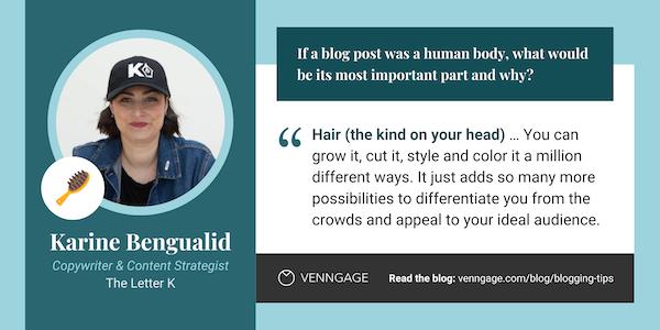 Karine Bengualid blogging tips quote