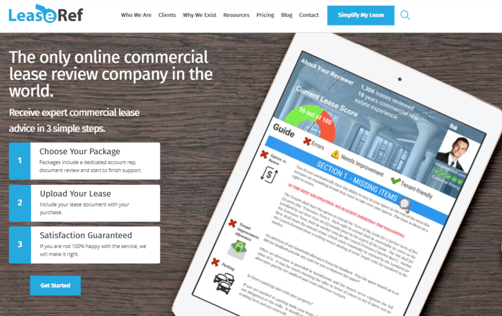 Lease Ref Case Study Homepage Example