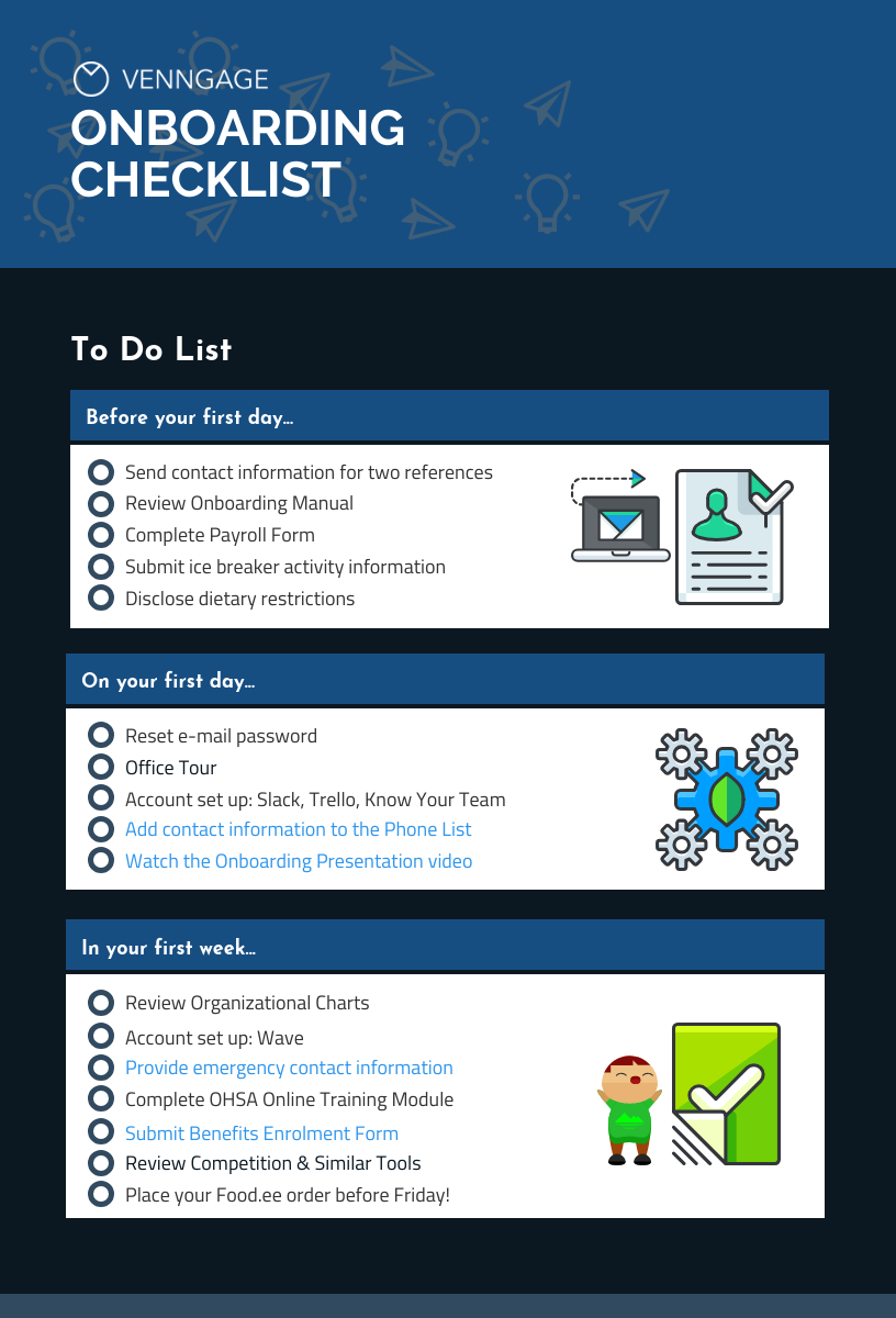 Venngage Onboarding Checklist Template