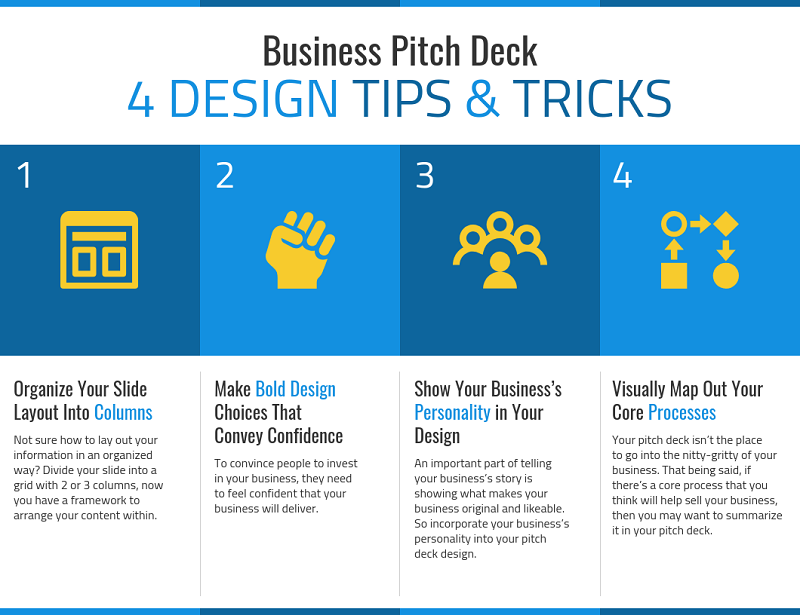 4 Design Tips for Pitch Decks List Infographic Template