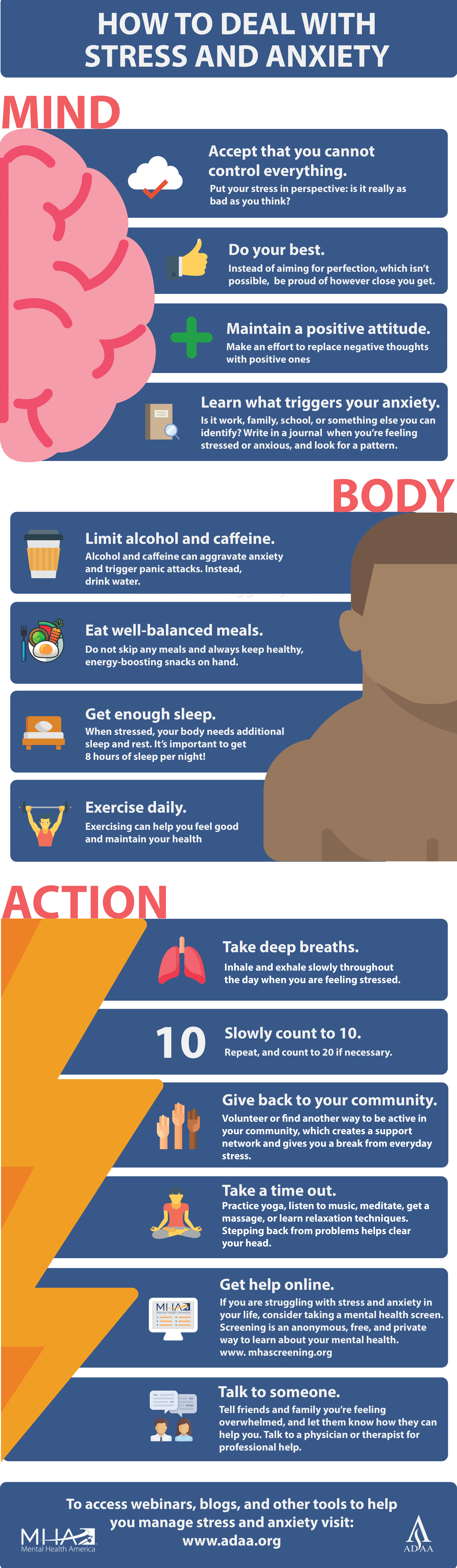 Tips for Stress and Anxiety Mental Health Infographic Example