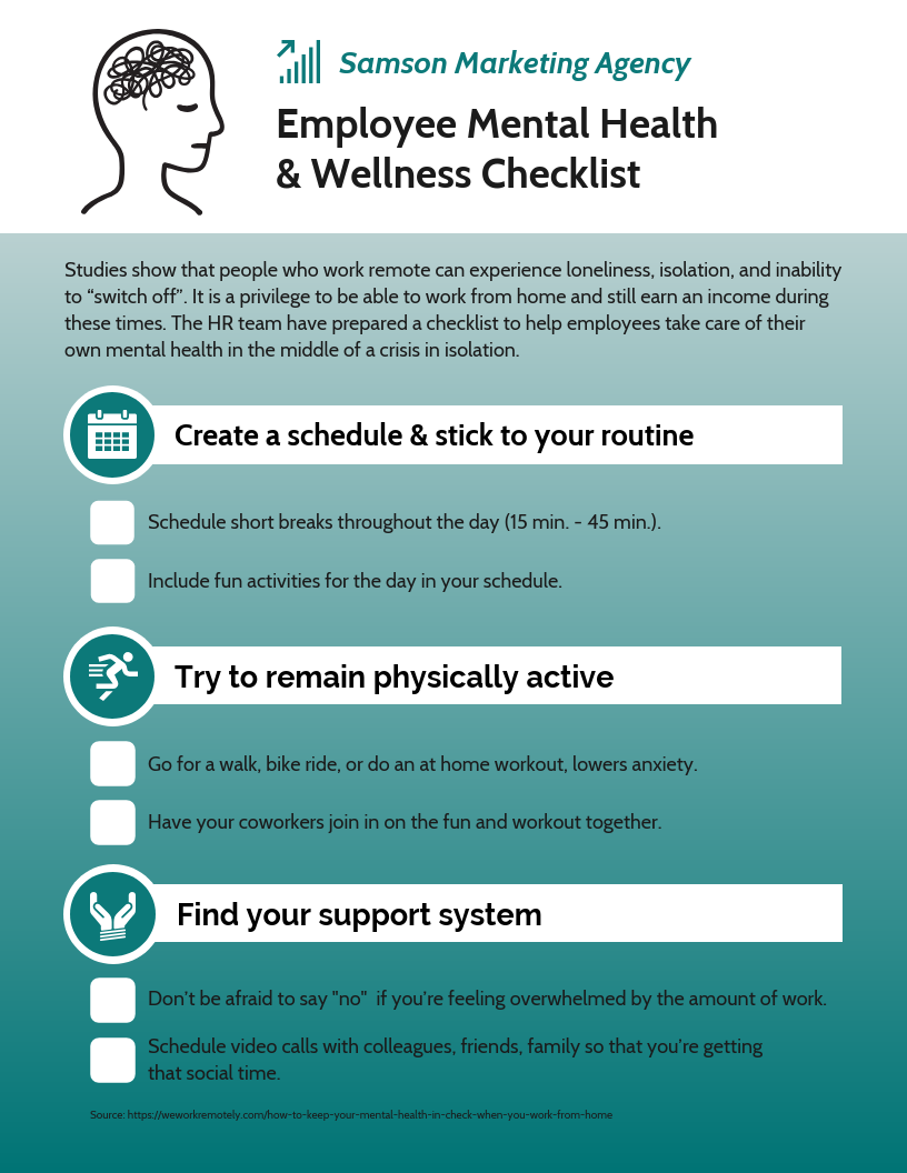 Employee mental health checklist infographic template