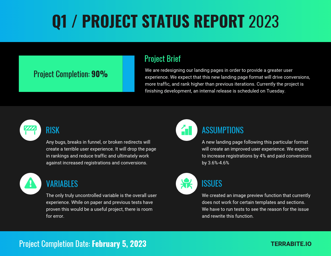 Simple Project Status Progress Report Template